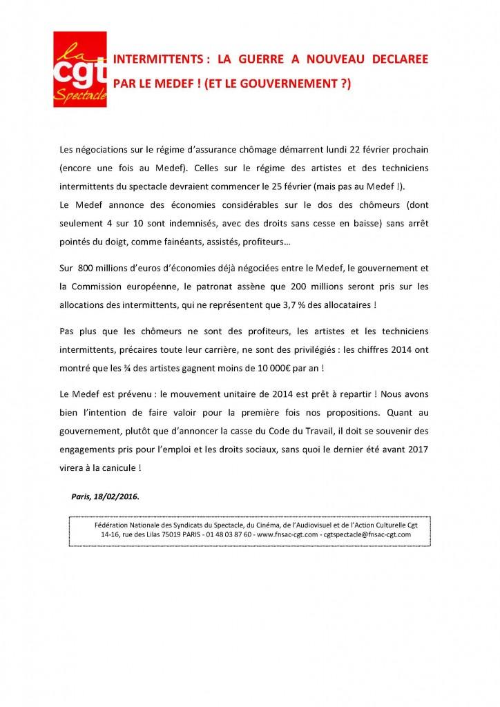 INTERMITTENTS  LA GUERRE A NOUVEAU DECLAREE PAR LE MEFEF  ET LE GOUVERNEMENT